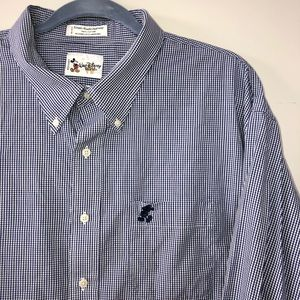 Vintage Mickey Disney plaid check button up shirt